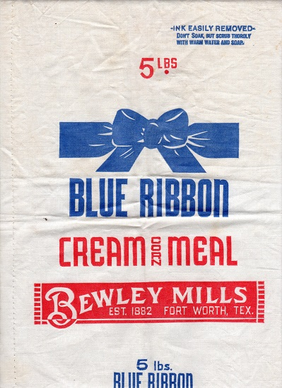 BLUE RIBBON CREAM CORN MEAL SACK.